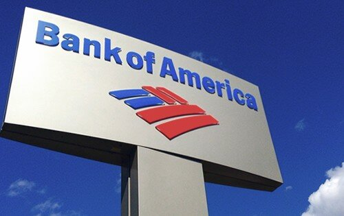 Bank of America logo on a sign